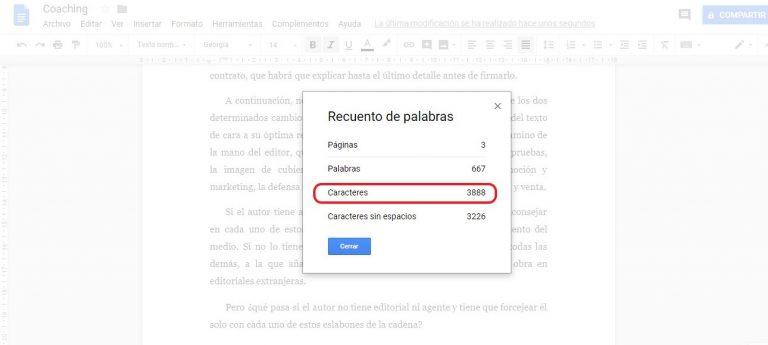 contar caracteres google docs 2
